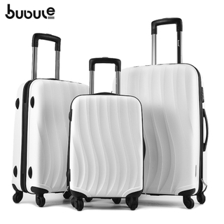 BUBULE 3PCS Fashion Zipper Luggage Set Waterproof Spinner Trolley Suitcase